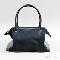 Salvatore Ferragamo Navy and Black Canvas and Leather Handbag