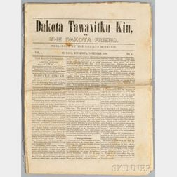 "Copy of the First Written Newspaper in the Dakota Language, ""Dakota Tawaxitku Kin or The Dakota Friend,"""