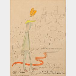 Ludwig Bemelmans (American, 1898-1962), Sketch for Madeline in London: Next Morning After He Arose, the Gardener Dropped His Garden Hos