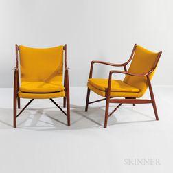 Pair of Finn Juhl Model 45 Armchairs