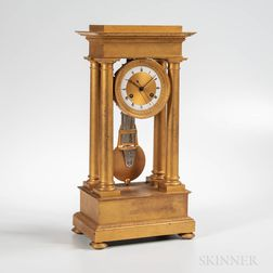 Fire-gilt French Portico Clock