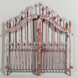 "Pair of Painted Cast Iron Gates from the ""Antipolier Society of Harlem,"""