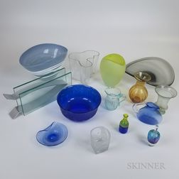 Fourteen Pieces of Mostly Colored Art Glass.     Estimate $100-150