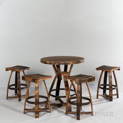 Hungarian Workshop California Wine Barrel Table and Four Pub Stools