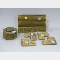 Six-piece Tiffany Studios Bronze Zodiac Pattern Desk Set