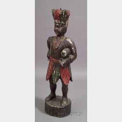 Carved and Painted Wooden Indian Tobacconist Store Figure
