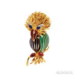 18kt Gold and Enamel Bird Brooch