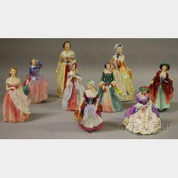 Nine Royal Doulton Porcelain Figures of Ladies