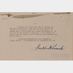 Roosevelt, Franklin Delano (1882-1945) Signed Typewritten Speech, 1936.