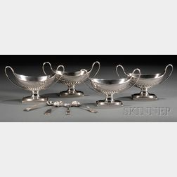 Set of Four English Silver Salt Cellars