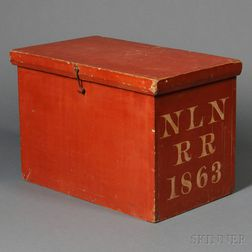 New London Northern Railroad Red-painted Ticket Box