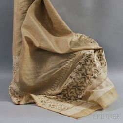 Embroidered Taupe Silk Panel