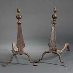 Punch-decorated Brass and Iron Knife Blade Andirons