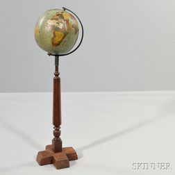 Carved and Painted Pine Folk Art Terrestrial Globe on Stand