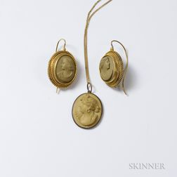 Lava Cameo Pendant and Earrings