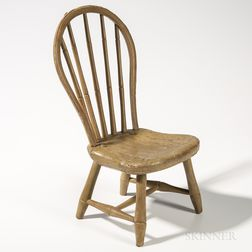 Miniature Taupe-painted Bamboo-turned Bow-back Windsor Side Chair