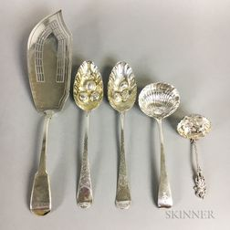 Five Pieces of English Sterling Silver Flatware