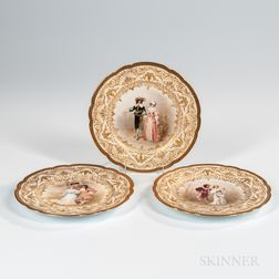 Twelve French Hand-painted Porcelain Plates
