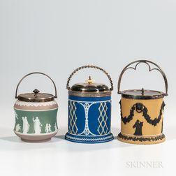 Three Wedgwood Jasper Dip Biscuit Jars
