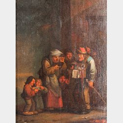 Dutch School, 17th Century Style      Genre Scene of a Peddler Surrounded by His Clientele