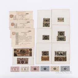 Twenty-one 19th Century Bank Notes/Currency Items.