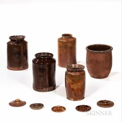 Five Glazed Redware Jars