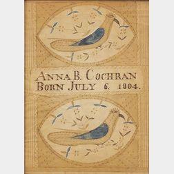 Attributed to Moses Connor, Jr. (New Hampshire, active 1800-1832)    Birth Record:  Anna B. Cochran Born July 6, 1804.