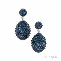 18kt Gold, Sapphire, and Diamond Earrings, Umrao