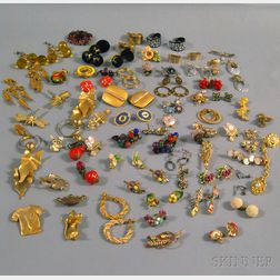 Small Group of Mostly Costume Earrings and Pins
