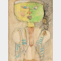 Zero Mostel (American, 1915-1977)    Abstract Figure