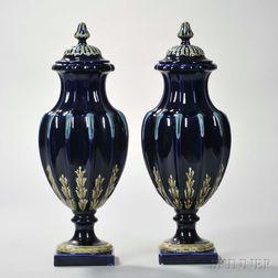 Pair of Sarreguemines Majolica Covered Vases