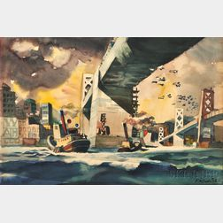 Dong Moy Chu Kingman (American, 1911-2000)      Tugboats at Work