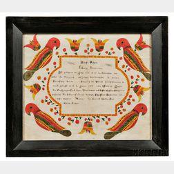 Watercolor and Pencil on Paper Baptismal Certificate Fraktur for Ludwig Dauberman