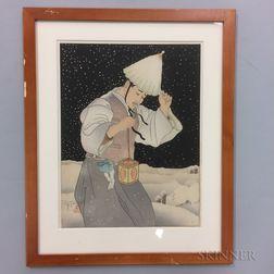 Paul Jacoulet (1902-1960) Woodblock Print, Nuit de Neige, Coree