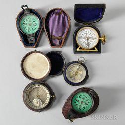 Five Cased Pocket Compasses