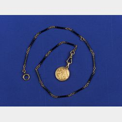 14kt Gold and Enamel Watch Chain and Fob