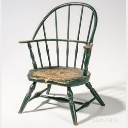 Miniature Green-painted Sack-back Windsor Armchair