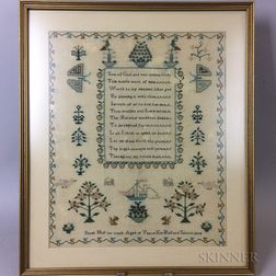 "Framed Needlework Sampler ""Sarah Hull,"""