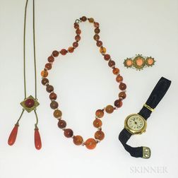 Agate Bead Necklace, Two Pieces of Coral Jewelry, and a Lady's Wristwatch