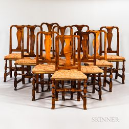 Assembled Set of Ten Queen Anne-style Dining Chairs