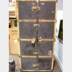 London Harness Co. Brass Mounted Leather-clad Devonshire Wardrobe Trunk