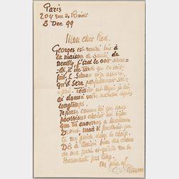 Pissarro, Camille (1830-1903) Autograph Letter Signed, Paris, 8 December 1899.