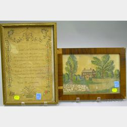 Framed 1807 Sarah H. Livermore Pen and Watercolor Poem and a Framed 19th Century Alluia Livermore Watercolor De...