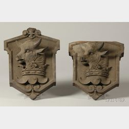 Pair of Decorative Carved Walnut Heraldic Wall Plaques