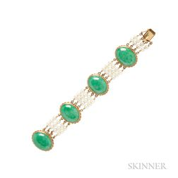 14kt Gold, Jade, and Cultured Pearl Bracelet