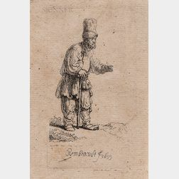 Rembrandt Harmensz van Rijn (Dutch, 1606-1669)      A Peasant in a High Cap, Standing Leaning on a Stick