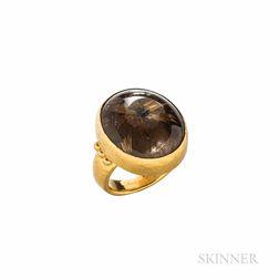 "Gurhan 24kt Gold and Rutilated Quartz ""Pandora"" Ring"