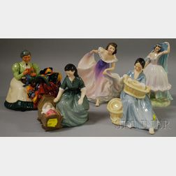 Five Royal Doulton Porcelain Figural Groups