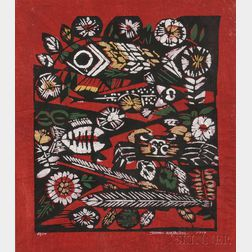 Woodblock Print Depicting Fish