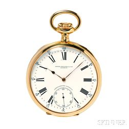 "Patek Philippe ""Chronometro Gondolo"" 18kt Gold Open Face Watch"